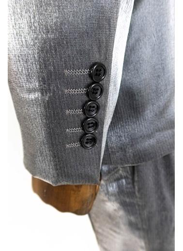 Wessi 2 Düğme Çizgili Takım Elbise Kombini Gri